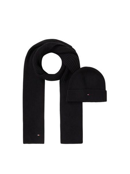 Prążkowana czarna czapka beanie bawełniana Tommy Hilfiger