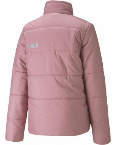 Теплая розовая утепленная куртка с надписью Puma