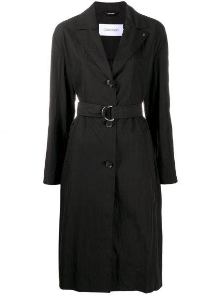 Черный хлопковый с рукавами тренчкот Calvin Klein