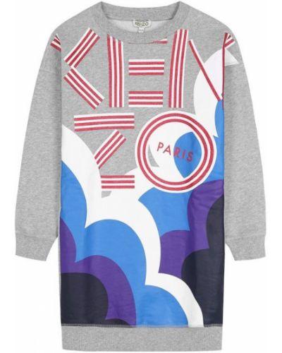 Платье мини с длинными рукавами макси платье-толстовка Kenzo