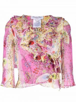 Bluzka kopertowa - różowa Christian Dior