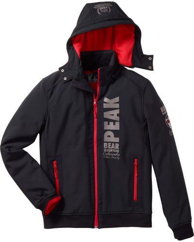 Куртка с капюшоном софтшелл черная Bonprix