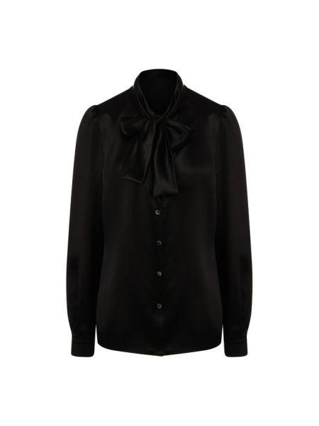 Шелковая черная блузка с длинным рукавом с бантом с длинными рукавами Dolce & Gabbana