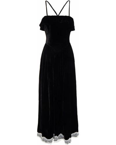 Czarna sukienka midi koronkowa z jedwabiu Alexachung