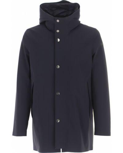 Czarny zimowy płaszcz na przyciskach z kapturem od płaszcza przeciwdeszczowego Rrd