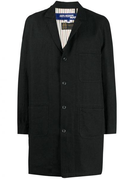 Однобортное черное шерстяное пальто классическое на пуговицах Junya Watanabe Man