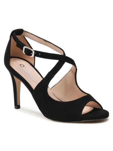 Czarne sandały skorzane eleganckie Quazi