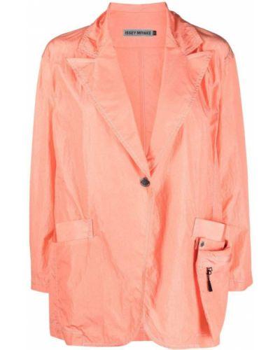 Pomarańczowy klasyczny długi płaszcz z nylonu Issey Miyake
