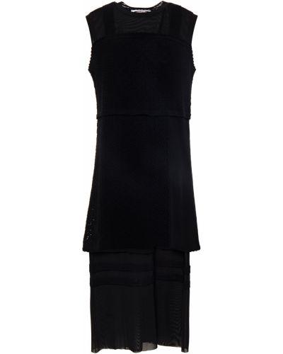 Хлопковое черное платье миди стрейч Mcq Alexander Mcqueen