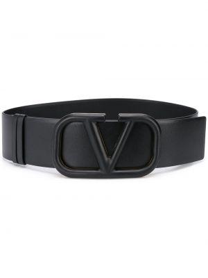 Кожаный черный ремень с пряжкой Valentino