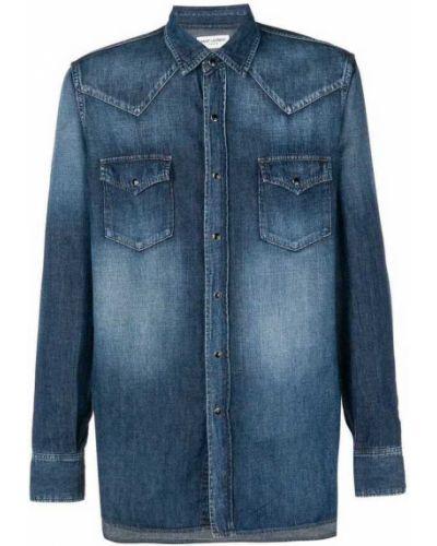 Niebieska koszula bawełniana Saint Laurent