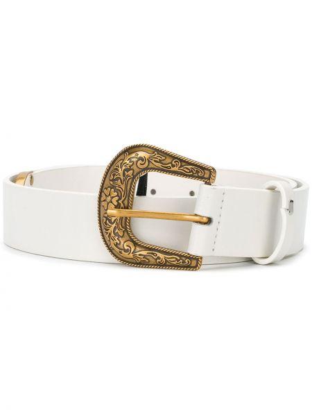 Золотистый кожаный белый ремень с пряжкой Twin-set