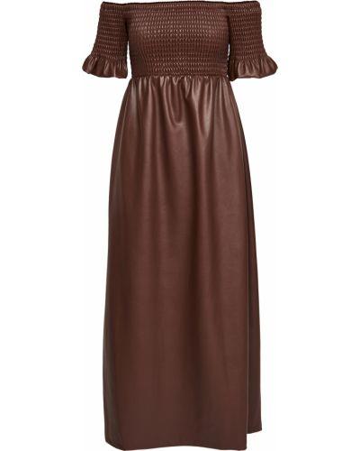 Кожаное платье с декольте с подкладкой Staud