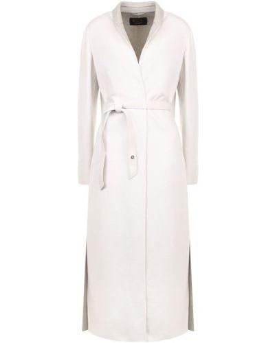 Кожаное пальто с поясом с воротником Loro Piana