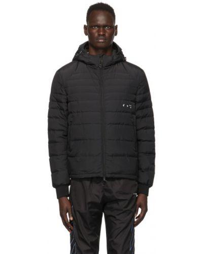 Puchaty czarny pikowana kurtka z mankietami z długimi rękawami Off-white