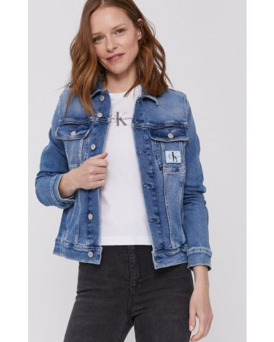 Niebieska kurtka jeansowa z kapturem bawełniana Calvin Klein Jeans