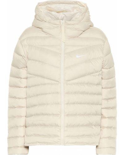 Пуховая тренировочная бежевая облегченная куртка с капюшоном Nike