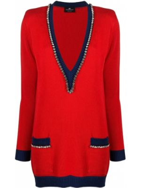 Платье макси длинное - красное Elisabetta Franchi