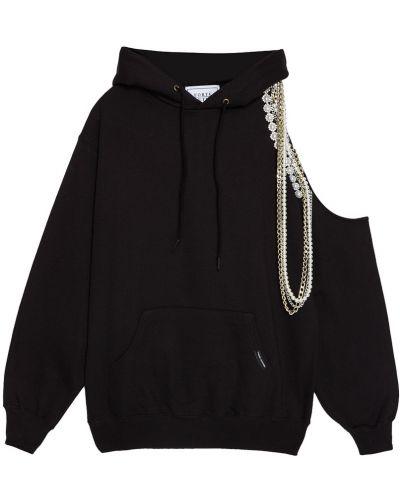 Хлопковая черная толстовка с капюшоном Forte Couture