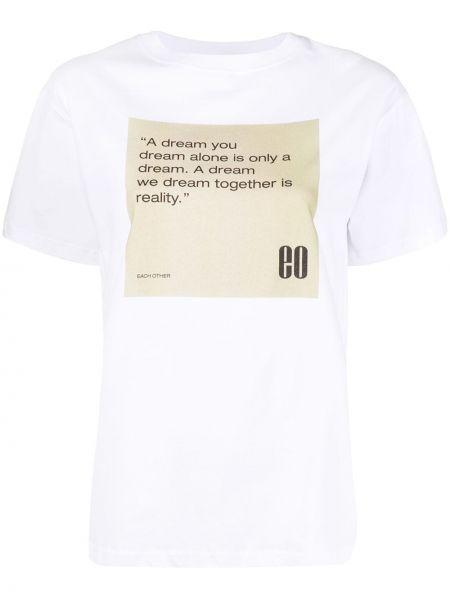 Biały t-shirt bawełniany z printem Each X Other