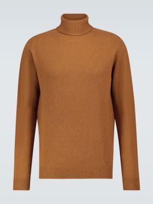 С рукавами коричневый шерстяной свитер Sunspel