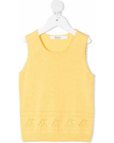 Żółta kamizelka bez rękawów bawełniana Bonpoint