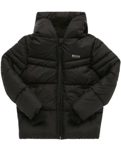 Флисовая дутая куртка с принтом с капюшоном Hugo Boss