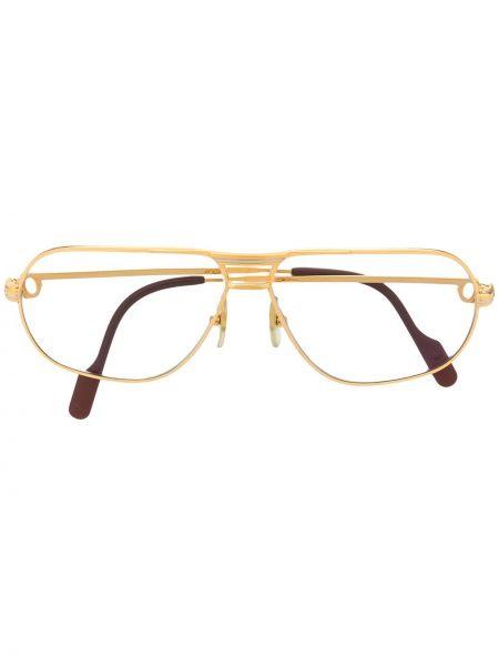 Желтые очки авиаторы винтажные прозрачные Cartier
