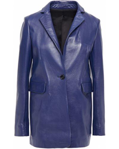 Кожаный синий пиджак с подкладкой Joseph