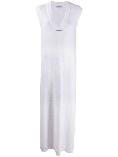 Шелковое вязаное белое платье макси Brunello Cucinelli