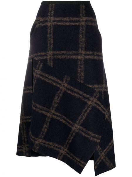 Шерстяная синяя асимметричная с завышенной талией юбка Odeeh
