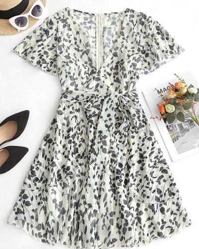 Платье с поясом с цветочным принтом с V-образным вырезом Zaful