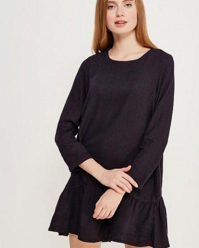 Черное платье с длинными рукавами Mango