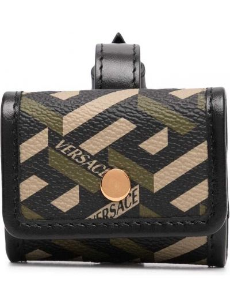 Czarny portfel z printem Versace
