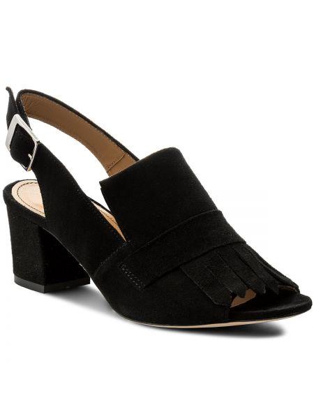 Czarne sandały na niskim obcasie z frędzlami Kazar