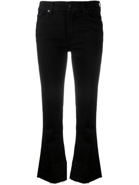 Хлопковые расклешенные черные укороченные джинсы 7 For All Mankind