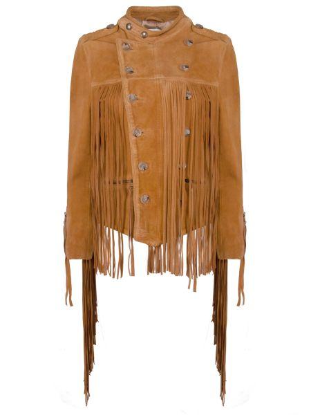 Коричневая кожаная куртка на молнии круглая с вырезом Faith Connexion