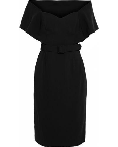 Черное платье с поясом на крючках Badgley Mischka