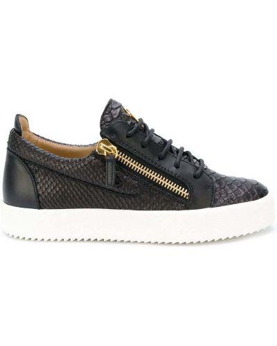 Кожаные кроссовки на молнии со змеиным принтом Giuseppe Zanotti Design