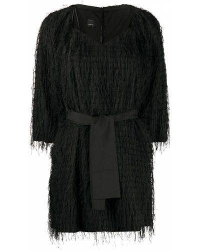 Пышное черное платье мини с бахромой Pinko