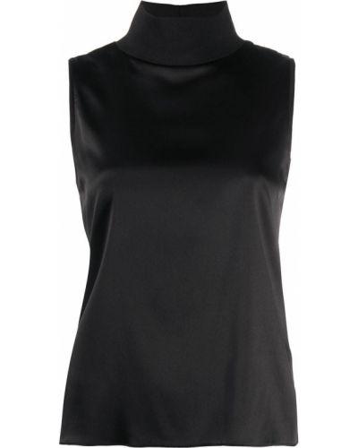 Шелковая черная прямая блузка без рукавов с воротником Dorothee Schumacher