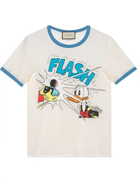 Хлопковая белая футболка с вырезом Gucci
