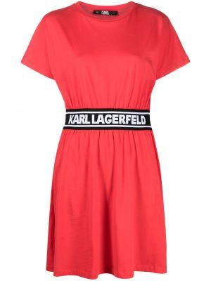 Хлопковое красное платье мини с вырезом Karl Lagerfeld