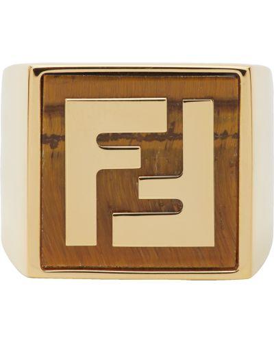 Brązowy złoty pierścionek z agatem Fendi