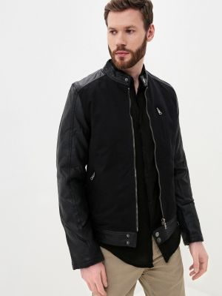 Кожаная черная кожаная куртка Young & Rich