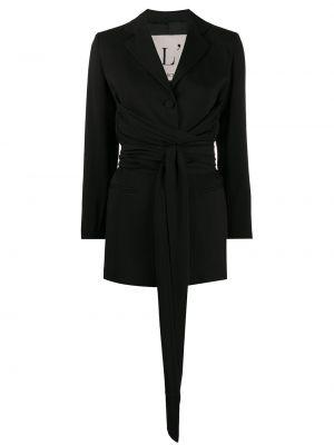 Черный пиджак с поясом из вискозы L'autre Chose