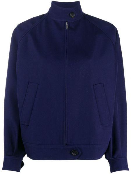 Шерстяная синяя куртка с воротником с карманами Miu Miu