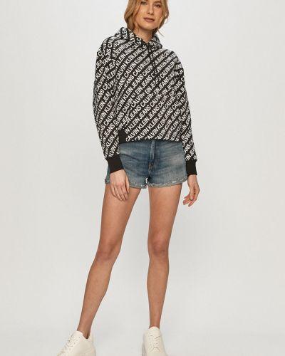 Czarna bluza długa z kapturem bawełniana Calvin Klein Jeans