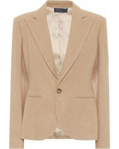 Ватный бежевый шерстяной пиджак Polo Ralph Lauren
