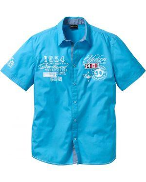 Рубашка с короткими рукавами льняная с принтом Bonprix